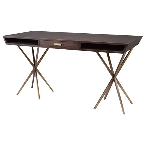 Mr. Brown Atlantis Modern Classic Dark Walnut Antique Brass Desk | Kathy Kuo Home