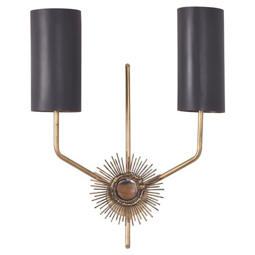 Mr. Brown Astral Modern Gold Sunburst Matte Black Wall Sconce | Kathy Kuo Home