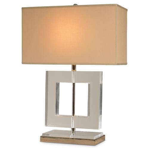 Mr. Brown Helsinki Modern Square Acrylic Nickel Table Lamp | Kathy Kuo Home