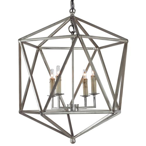 Mr. Brown Orion Industrial Rustic Silver Geometric Pendant | Kathy Kuo Home