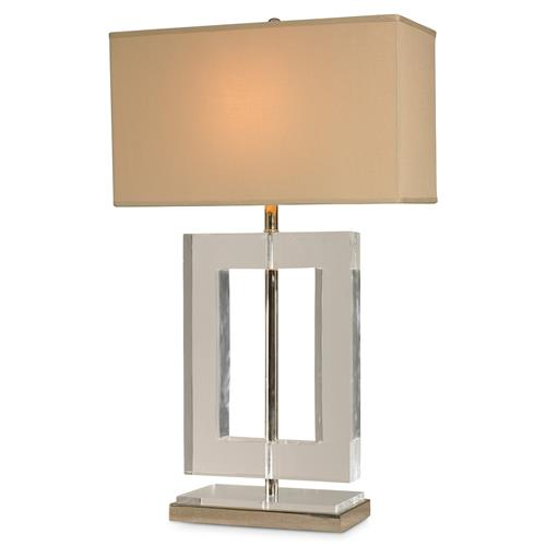 Mr. Brown Oslo Modern Rectangle Lucite Nickel Table Lamp | Kathy Kuo Home