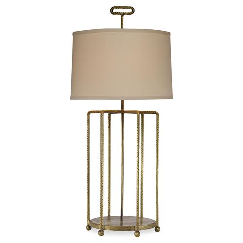 Mr. Brown Tangmere Modern Hammered Gold Cage Granite Table Lamp | Kathy Kuo Home