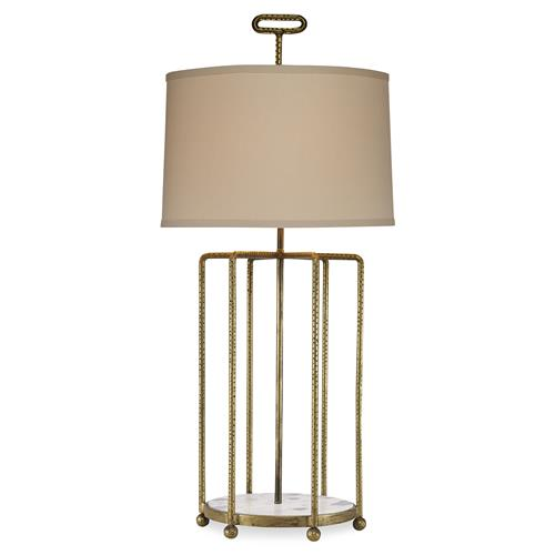 Mr. Brown Tanhmere Modern Hammered Gold Cage Marble Table Lamp | Kathy Kuo Home