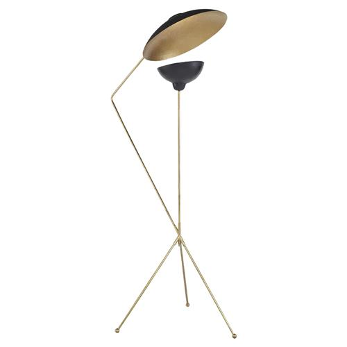 Mr. Brown Torme Industrial Mid Century Black Gold Double Floor Lamp | Kathy Kuo Home