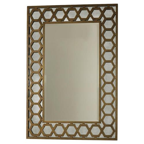 Mr. Brown Angeline Modern Classic Hexagon Gold Panel Mirror | Kathy Kuo Home