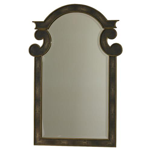 Mr. Brown Camille Hollywood Regency Grey Faux Shagreen Brass Mirror | Kathy Kuo Home