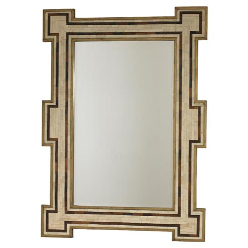 Mr. Brown Constanta Global Bazaar Rustic Gold Ivory Inlaid Bone Mirror | Kathy Kuo Home