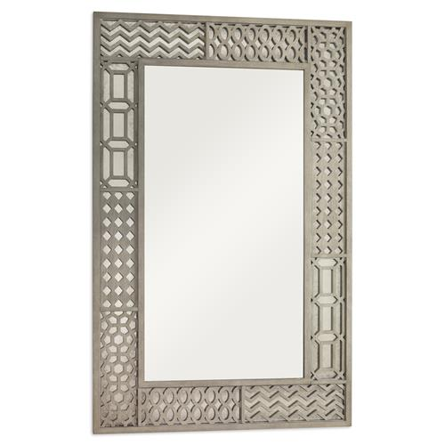 Mr. BrownTito Modern Grey Oak Pattern Patchwork Framed Mirror | Kathy Kuo Home