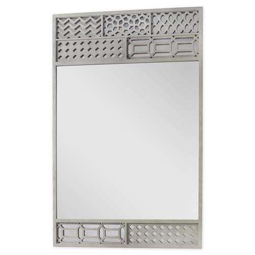 Mr. Brown Tito Modern Classic Grey Oak Pattern Patch Accent Mirror | Kathy Kuo Home