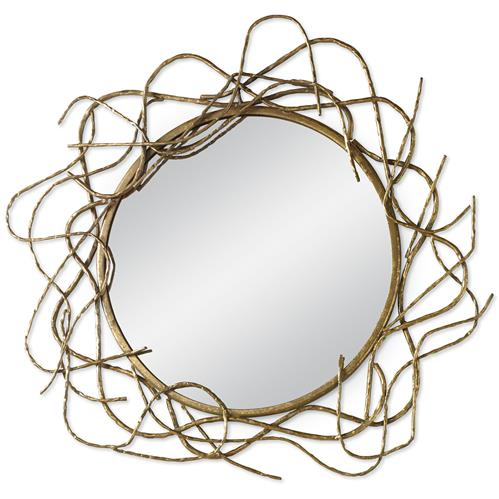 Mr. Brown Ursula Medusa Global Bazaar Antique Gold Round Mirror - 36D | Kathy Kuo Home