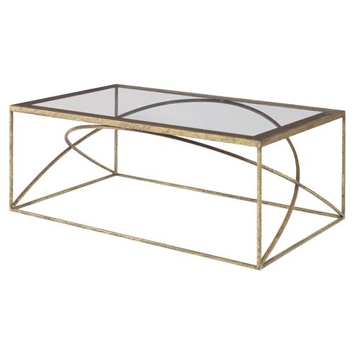 Mr. Brown Adelaide Modern Classic Arch Champagne Gold Coffee Table | Kathy Kuo Home