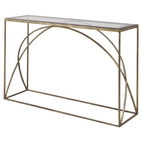 Mr. Brown Adelaide Modern Classic Arch Champagne Gold Console Table | Kathy Kuo Home