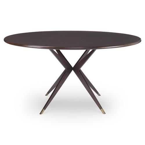 Mr. Brown Atlantis Modern Atom Brass Walnut Dining Table - 48D | Kathy Kuo Home