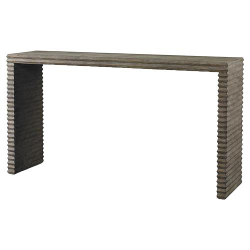 Mr. Brown Belmont Modern Industrial Grey Pine Console Table | Kathy Kuo Home