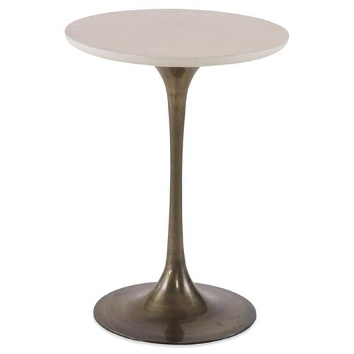 Mr. Brown Fluted Modern Tulip Vanilla Shagreen Gold End Table | Kathy Kuo Home