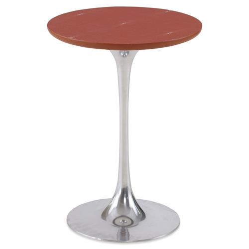 Mr. Brown Fluted Tulip Satsuma Red Faux Shagreen End Table | Kathy Kuo Home