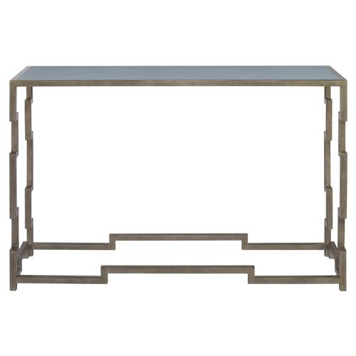 Mr. Brown Fontana Silver Lattice Faux Shagreen Sky Console Table | Kathy Kuo Home