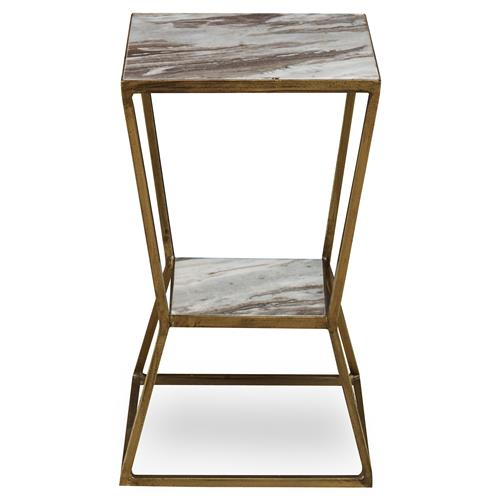 Mr. Brown Frontera Modern Angle Hourglass Gold Granite End Table | Kathy Kuo Home
