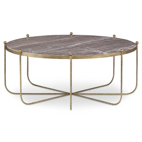 Mr. Brown Tangmere Global Granite Gold Spindle Coffee Table | Kathy Kuo Home
