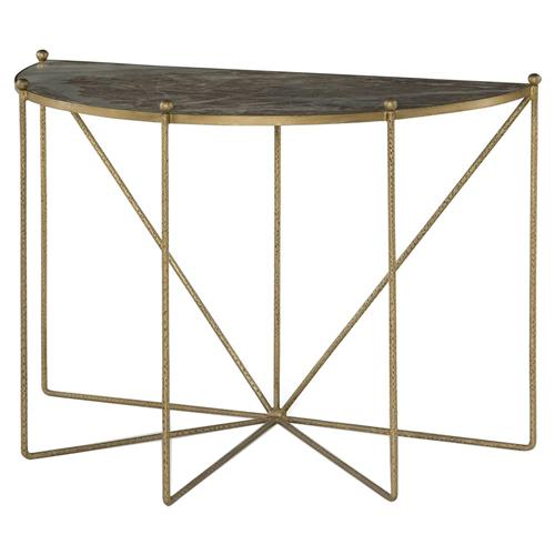 Mr. Brown Tangmere Global Granite Gold Spindle Console Table | Kathy Kuo Home