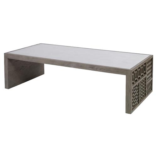Mr. Brown Tito Coffee Modern Grey Oak Mirror Pattern Fretwork Coffee Table | Kathy Kuo Home