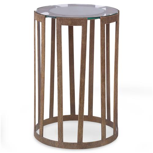 Mr. Brown Vernet Modern Classic Flat Gold Glass End Table | Kathy Kuo Home