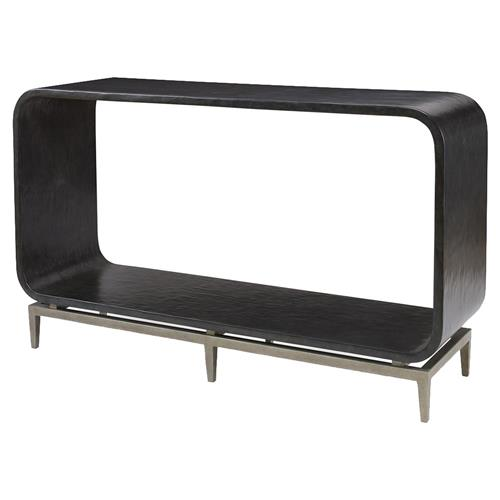 Mr. Brown Wilhelm Modern Ebony Smooth Silver Rounded Console Table | Kathy Kuo Home