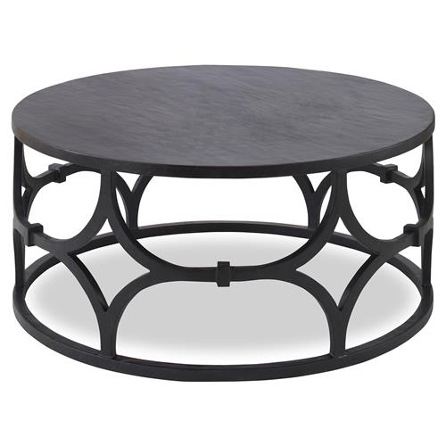 Mr. Brown Wolfgang Modern Classic Graphite Trellis Round Coffee Table | Kathy Kuo Home