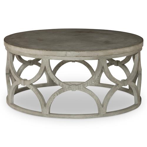 Mr. Brown Wolfgang Modern Slate Oak Round Outdoor Coffee Table | Kathy Kuo Home