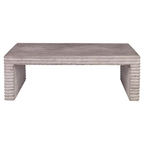 Mr. Brown Belmont Industrial Grey Corrugated Stone Coffee Table | Kathy Kuo Home