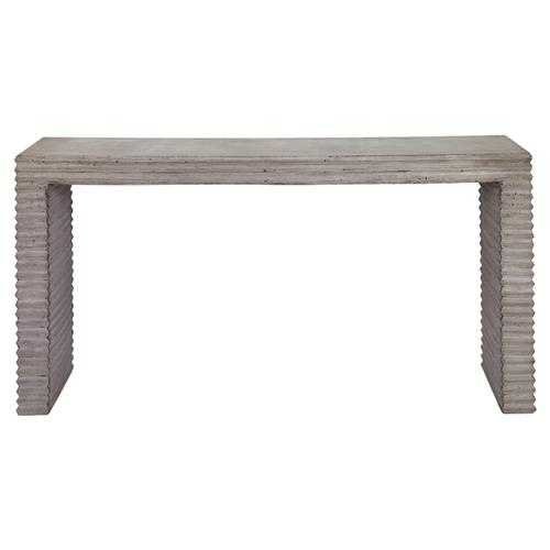 Mr. Brown Belmont Industrial Grey Corrugated Stone Outdoor Console Table | Kathy Kuo Home