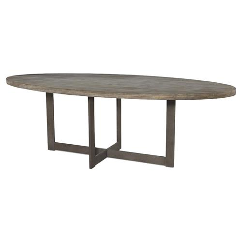 Mr. Brown Denmark Industrial Rustic Teak Oval Dining Table - 8 foot | Kathy Kuo Home