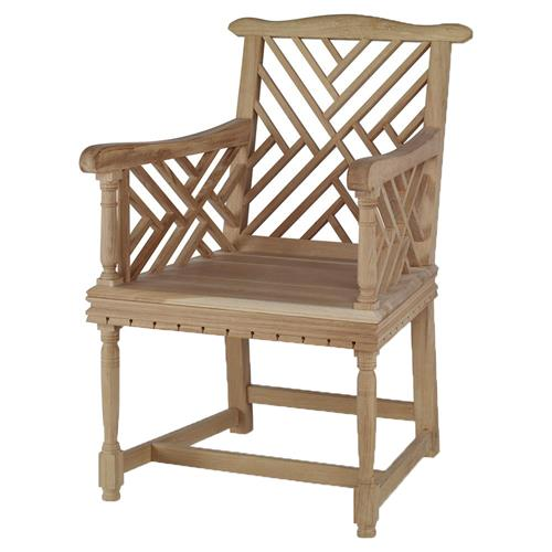 Heathrow Country Coastal English Garden Oak Arm Chair | Kathy Kuo Home