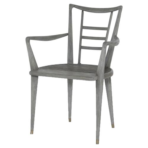 Mr. Brown Mahler Industrial Loft Retro Grey Oak Outdoor Armchair | Kathy Kuo Home
