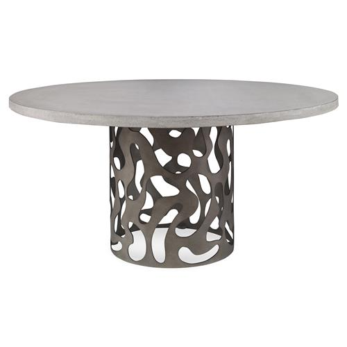 Mr. Brown San Marino Industrial Stone Pedestal Outdoor Dining Table - 48D | Kathy Kuo Home