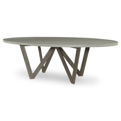 Mr. Brown Spider Industrial Loft Grey Stone Oval Outdoor Dining Table - 8 ft. | Kathy Kuo Home
