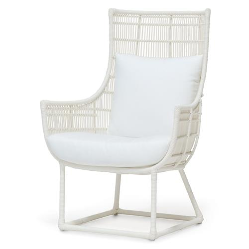 Palecek Verona Modern Classic Faux Wicker Cream Outdoor Lounge Chair - Salt | Kathy Kuo Home