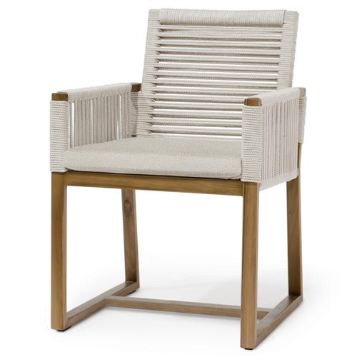 Palecek San Martin Coastal Beach Natural Sand Rope Wrapped Outdoor Arm Chair | Kathy Kuo Home