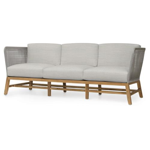Palecek Avila Modern Grey Rope Woven Teak Outdoor Sofa - Natural Sand | Kathy Kuo Home