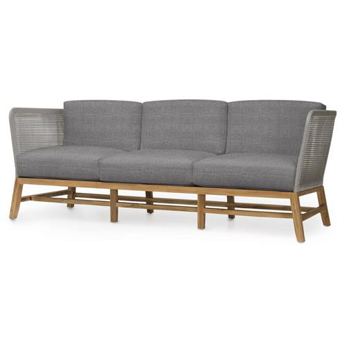 Palecek Avila Modern Grey Rope Woven Teak Outdoor Sofa - Grey Sand | Kathy Kuo Home