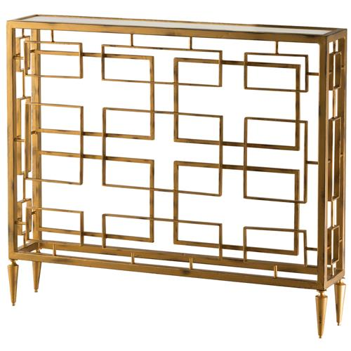 Audrey Hollywood Regency Gold Square Iron Console Table | Kathy Kuo Home