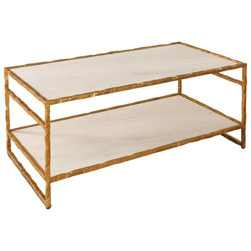 Tifelt Global Bazaar Hand Carved Iron Gold Finish Coffee Table | Kathy Kuo Home