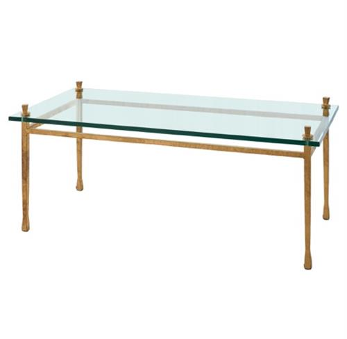 Handler Global Bazaar Floating Glass Gold Leaf Rectangular Coffee Table | Kathy Kuo Home