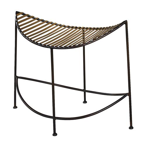 Taza Global Bazaar Black Bronze Moon Shape Bench | Kathy Kuo Home