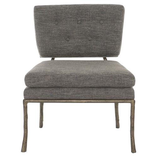 Persia Classic Gold Branch Mod Grey Side Chair | Kathy Kuo Home