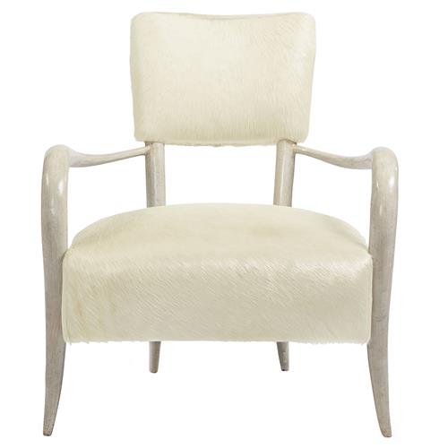 Pietra Hollywood Regency Ivory Horn Leather Arm Chair | Kathy Kuo Home