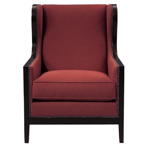 Prospera French Country Ruby Wood Trim Wing Chair | Kathy Kuo Home