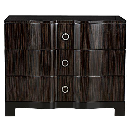 Fidello Hollywood Regency Ebony Strie Polished Dresser | Kathy Kuo Home