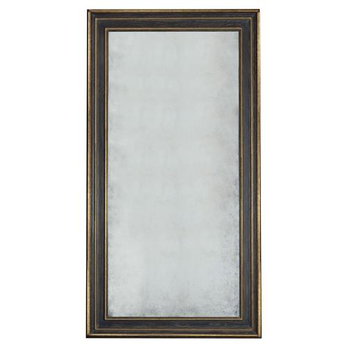 Filia French Country Black Oak Gold Trim Floor Mirror | Kathy Kuo Home