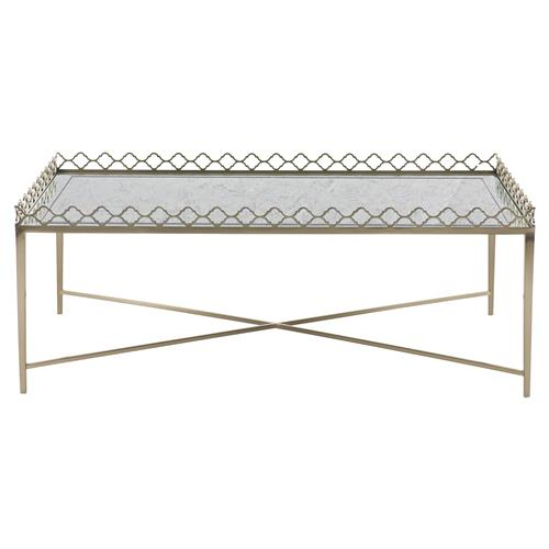 Michaela French Country Inset Eglomise Glass Top Steel Rectangular Coffee Table | Kathy Kuo Home